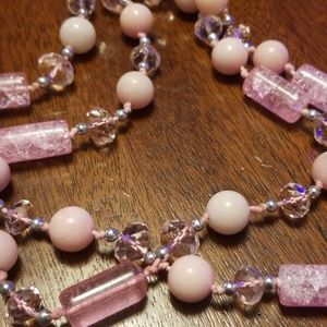 Long, Pink Beaded Necklace